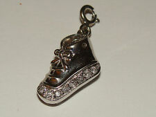 Sterling Silver Diamond Baby Shoe Charm  .15pts NR BIN 3.1 Grams W/ Box SEE PICS