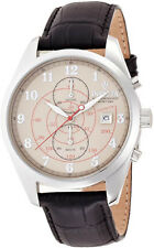 New Mens Invicta 12386 Vintage Chronograph Black Leather Strap Watch