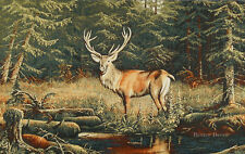 """31"""" WALL JACQUARD WOVEN TAPESTRY Deer in the Forest WILD LIFE ANIMAL LANDSCAPE"""