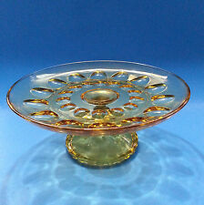 Vintage Amber Glass Thumbprint Design Round Pedestal Cake Plate