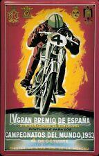 Blechschild Motorrad iV Gran Premio de Espana 1953 Nostalgieschild Spanien 20x30