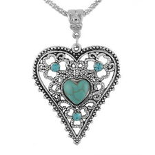1PC Women Boho Turquoise Rhinestone Heart Pendant Necklace Hollow Pattern