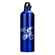 Blue Cycling Camping Bicycle Sports Aluminum Alloy Water Bottle 750ml Bottle