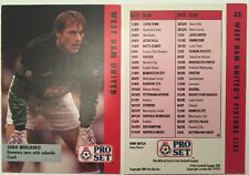 Pro Set Football Trade West Ham Utd Fixtures List Feat Ludo Miklosko No 21