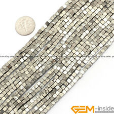 """3mm Silver Gray Pyrite Gemstone Cubic Loose Beads For Jewelry Making Strand 15"""""""