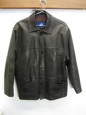 vtg CB Leather Coat Jacket button front mid length dark brown sz M