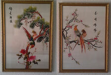PAIR OF CHINESE SILK EMBROIDERY PICTURES FRAMED