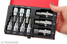 "10pc 3/8"" & 1/2"" Inch Drive Hex Bit Socket Set SAE Imperial Garage Tool Set New"