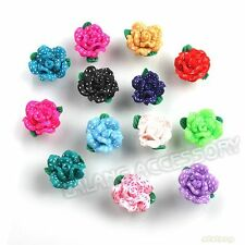 13x Hot Mixed Dots Flower Flatback Polymer Clay Beads 15mm Findings On Sale J