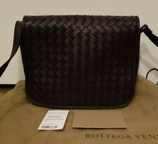 100% Authentic  Bottega Veneta Nappa Flap Crossbody Bag in Ebano Brown  MINT