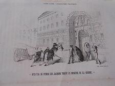 Gravure 19ème - Caricature Politique D'un tas de fumier les jacobins tirent