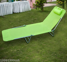 Outsunny Adjustable Sun Lounger Chaise Folding Beach Lounge Chair Green