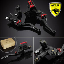 "MZS Black Universal 7/8"" Brake & Clutch Levers Master Cylinder Set Reservoir"