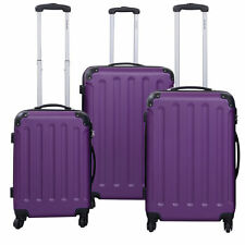 New 3 Pcs Luggage Travel Set Bag ABS+PC Trolley Suitcase Purple