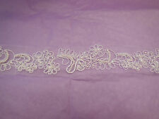 White Embroidered beads English lace trim Bridal Wedding tulle Veil trim PerYard