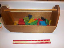 33 Vintage Toy Colored Wooden Building Blocks in Handmade Toy or Tool Carrier