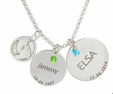 Baby Foot Feet Double Disc Jewel Personalised Engraved Name Necklace Jewellery