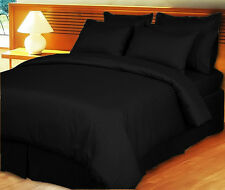Duvet Set + Fitted Sheet King Size Black Stripe 1000 TC 100% Egyptian Cotton