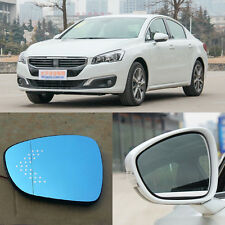 Rearview Mirror Blue Glasses LED Turn Signal with Power Heating For Peugeot 508