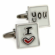 I Love You Heart Happy Cufflinks Wedding Groom Gift Suit Cuff