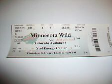 2013 Minnesota Wild vs. Colorado Avalanche Xcel Energy Center Ticket Stub
