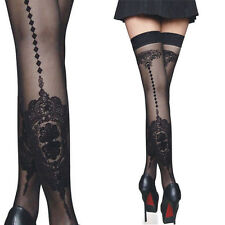 Black Sheer Thigh High Stockings w/ Floral Cameo Back Seam Lolita Cosplay Tights
