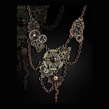 RESTYLE STEAMPUNK FUSION NECKLACE. VICTORIAN GOTHIC. INDUSTRIAL. MECHANICAL COGS