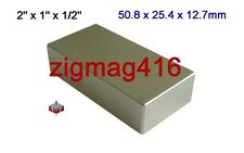 "1 pc of Grade N52,  2"" x 1"" x 1/2"" thick Rare Earth Neodymium Block Magnet"