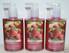 LOT OF 3 BATH & BODY WORKS FRESH STRAWBERRIES ANTI BACTERIAL HAND SANITIZER GEL