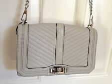 REBECCA MINKOFF *LOVE* CHEVRON QUILTED LT ASH GRAY Crossbody handbag *NEW*