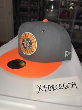 New Era Seattle Mariners Fitted Hat Sz 7 3/8 Charcoal Neon Orange New