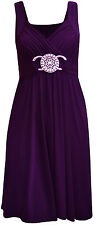 New Womens Plus Size Buckle Belted Tie Back Knee Length Evening Party Dress 8-16