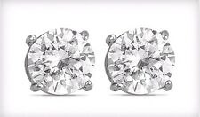 2-Carat Pair White Topaz Stud Sterling Silver Set Prong Earrings Beautiful NEW