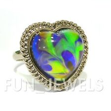 Ocean's Mystique Amazing Heart Mood Ring With Beautiful Swirl Colors free box