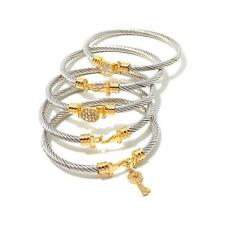 "EMMA SKYE ""STACKED TO THE SKYE"" SET-5 CABLE CRYSTAL STAINLESS STEEL BANGLES HSN"