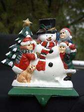 Cast Iron Stocking Hanger Holder Snowman with Children & a Christmas Tree