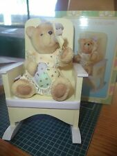 ROCKING CHAIR CREAM AND PINK WITH GIRL TEDDY BEAR FIGURINE HOLDING PINWHEEL