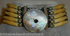 "NATIVE AMERICAN 31"" CHOKER, HAIRPIPE, BLACK & GOLD BEADS W/ABALONE DISK, 1960's!"