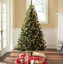 Pre-Lit Green Artificial Christmas Tree 6.5-ft w Clear Lights Madison Pine *NEW*