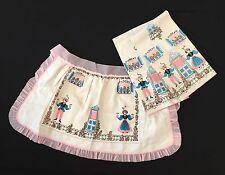 VTG Linen 1/2 Apron Matching Tea Towels Set French Pink Blue Voile Ribbon