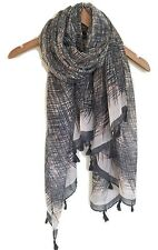 LADIES GREY BLACK BEIGE PEACH ABSTRACT PRINT BOHO TASSLED SCARF WRAP NEW AW16