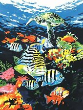 PJS74 OCEAN DEEP UNDERWATER TROPICAL FISH & TURTLE PAINTING A4 PAINT BY NUMBERS