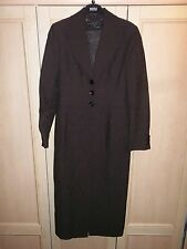 KAREN MILLEN BROWN PAISLEY TEXTURED DUSTER LONG COAT SIZE 10