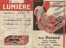 LIVRET PUBLICITAIRE FACTURE RENE DURAND PHOTO AMATEURS PARIS PELLICULES LUMIERE