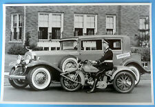 "12 By 18"" Black & White Picture 1931 Cadillac 4 Door With Cycle Service Vehicle"