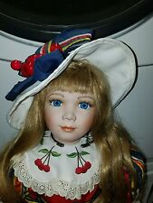 ALICE IN WONDERLAND PORCELAIN DOLL 34INCHES TALL EUC