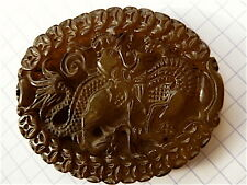 Pendentif dragon chinois  jade marron translucide chine chinese Medaillon 中国   1
