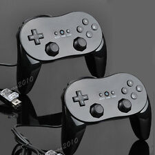 2X Black Wired Classic Pro Controller Joypad Gamepad For Nintendo Wii Remote New