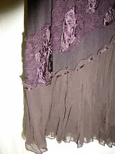Per Una size 12R brown sheer lined skirt with ruffles and applique & beads