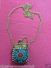 Antique Jewelry Tibetan Solid Brass Turquoise-Coral Secret Box Necklace CH1146